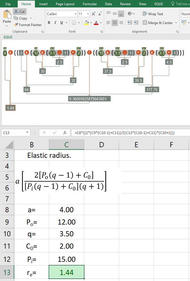 Elastic Radius formulae handling in Excel