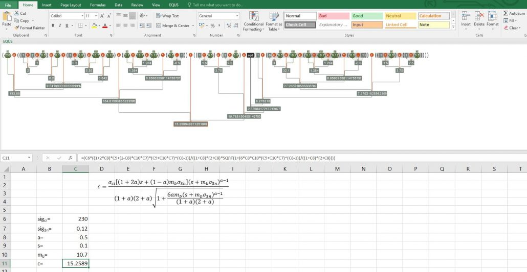 Visualizing long formulae in Excel